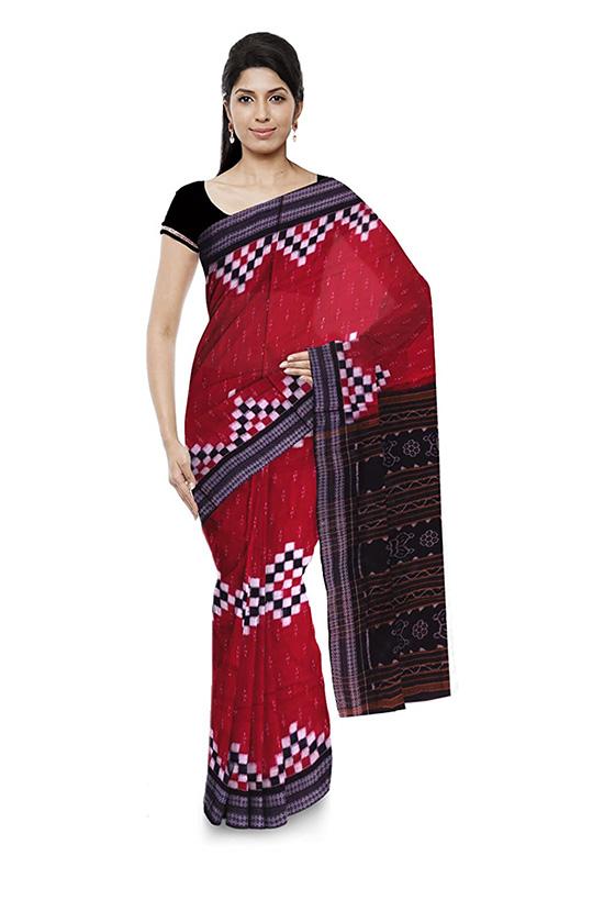 Sambalpuri Bomkai Handloom Cotton Maroon Saree