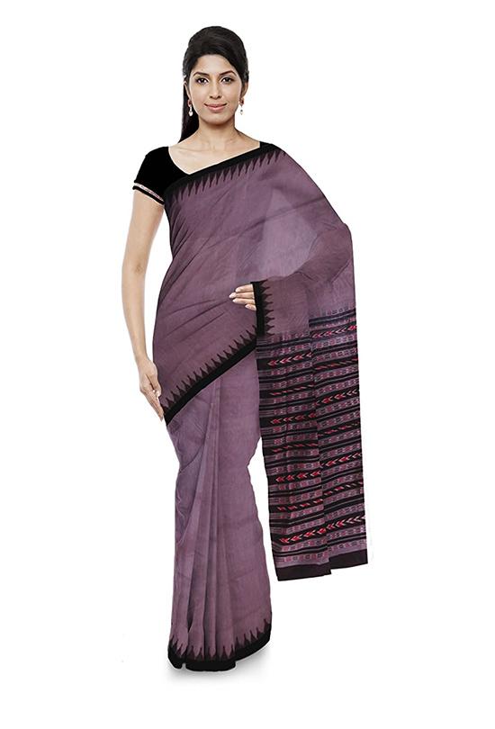 Sambalpuri Bomkai Handloom Cotton Purple Saree for Women