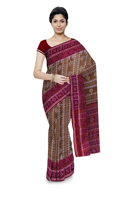Sambalpuri Bomkai Handloom Green Cotton Saree for Women