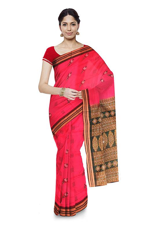 Sambalpuri Bomkai Handloom Pink Cotton Saree
