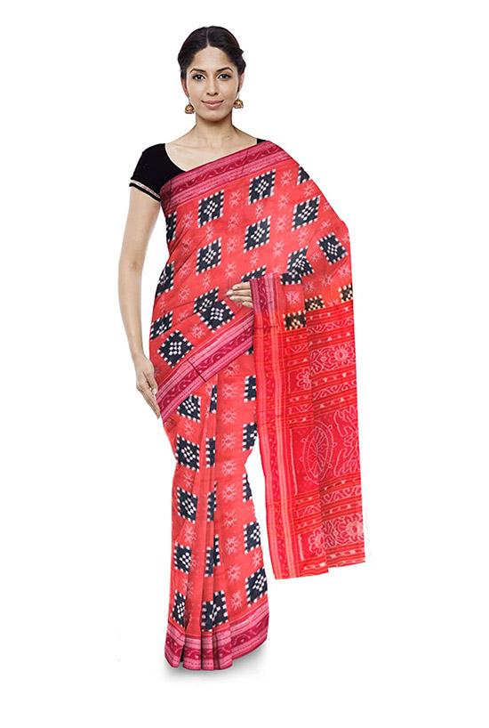 Sambalpuri Bomkai Handloom Red Cotton Saree