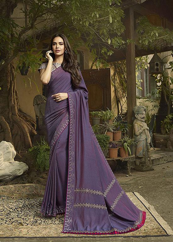 Sanskar Tex Print Lavender Saree
