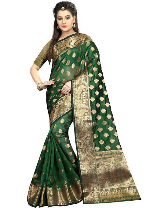 Self Design Banarasi Art Silk Green Saree