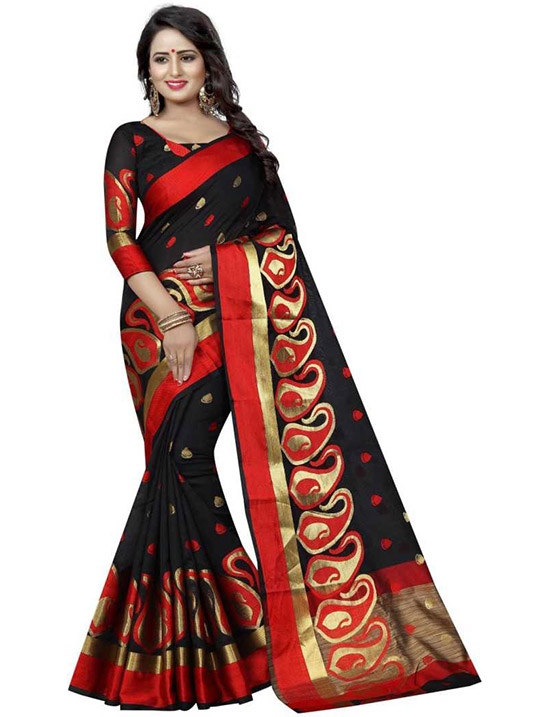 Self Design Banarasi Cotton Silk Black Saree