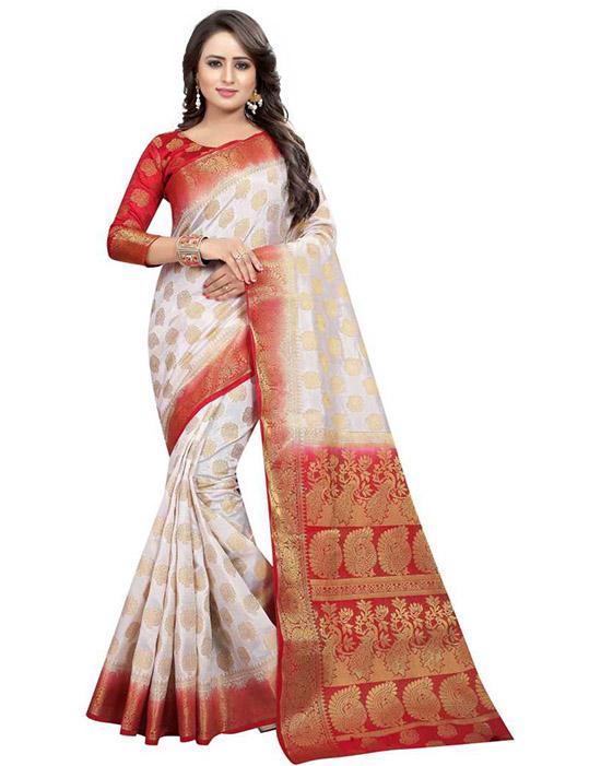 Self Design Banarasi Cotton Silk White Saree