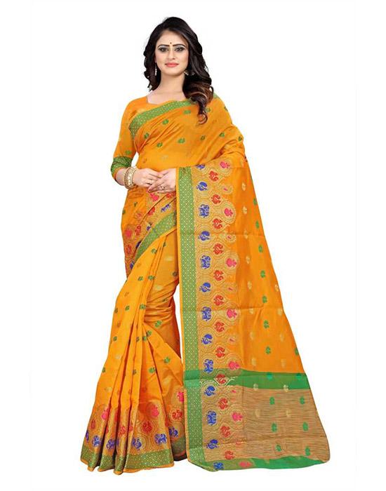 Self Design Banarasi Cotton Silk Yellow Saree