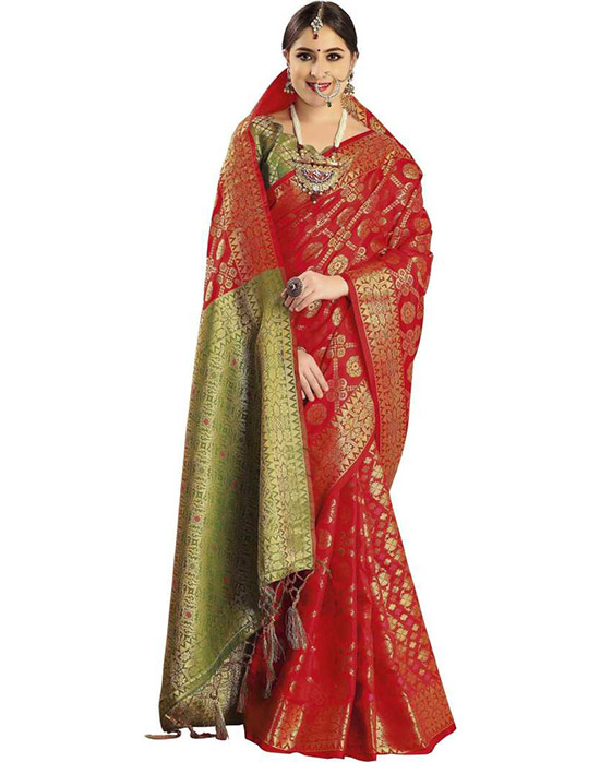 Self Design Banarasi Poly Silk Red Saree