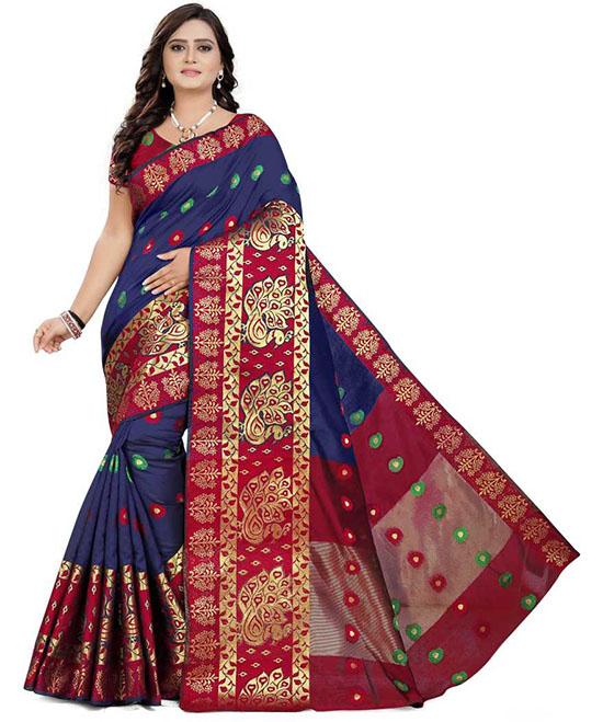 Self Design Banarasi Silk Blend, Cotton Blend Blue Saree