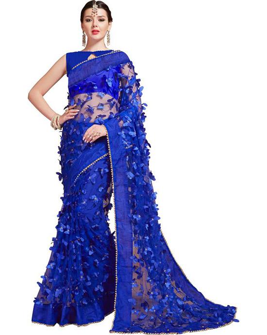 Self Design Bollywood Net Blue Saree