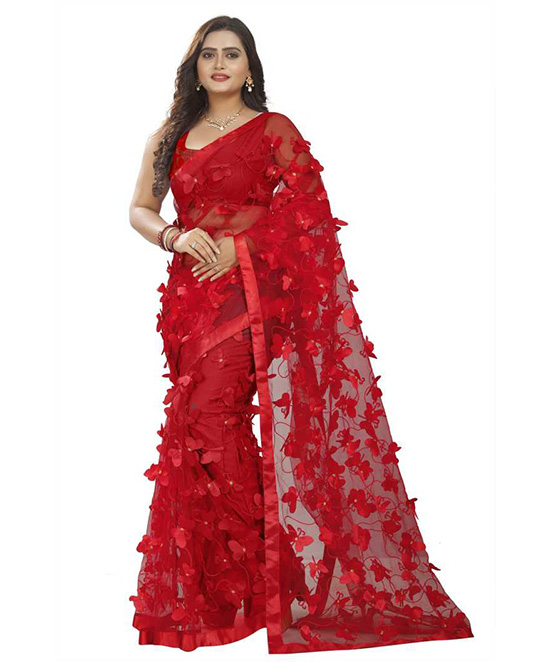 Self Design Bollywood Net Red Saree