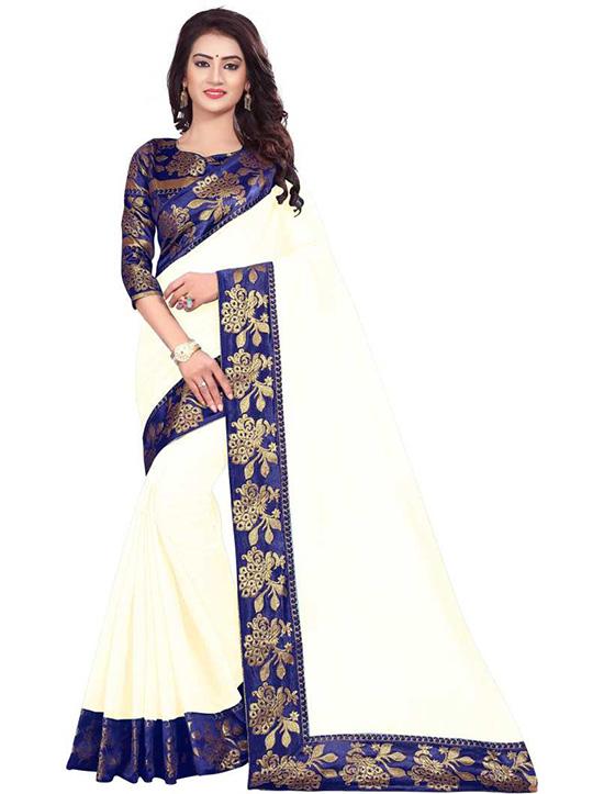 Self Design Chanderi Cotton Blend White Saree
