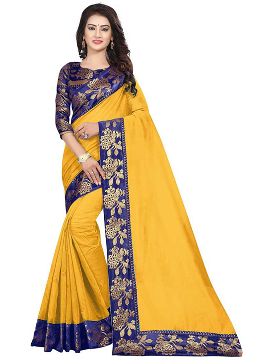 Self Design Chanderi Cotton Blend Yellow Saree