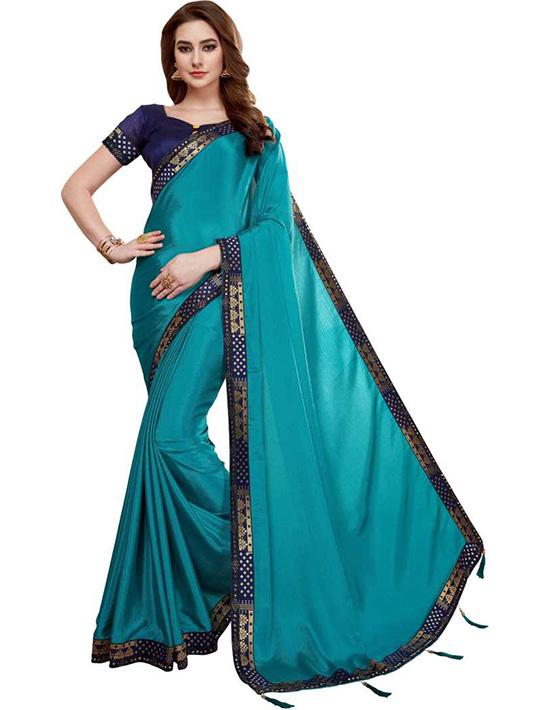 Self Design, Embellished, Solid Fashion Chiffon, Poly Silk Blue Saree