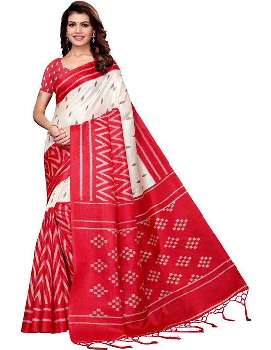 Self Design Fashion Art Silk White Saree