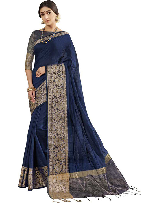 Self Design Fashion Cotton Silk Blue Saree