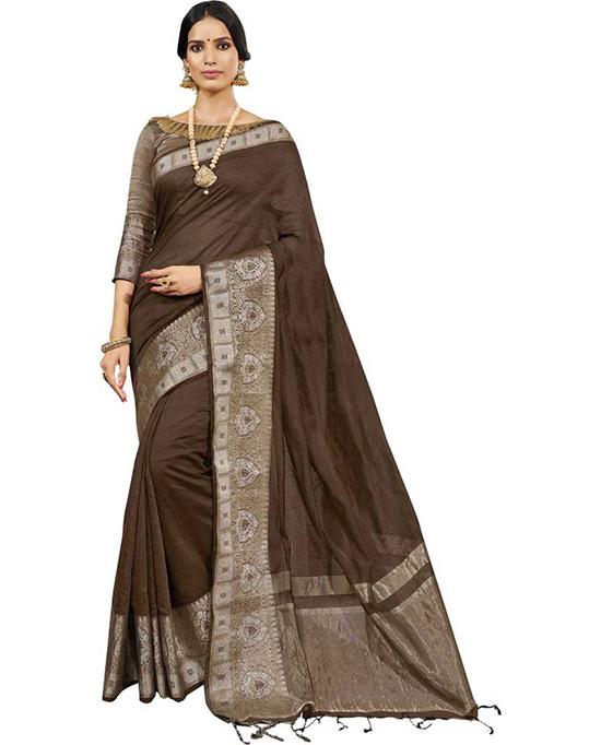 Self Design Fashion Cotton Silk Brown Saree