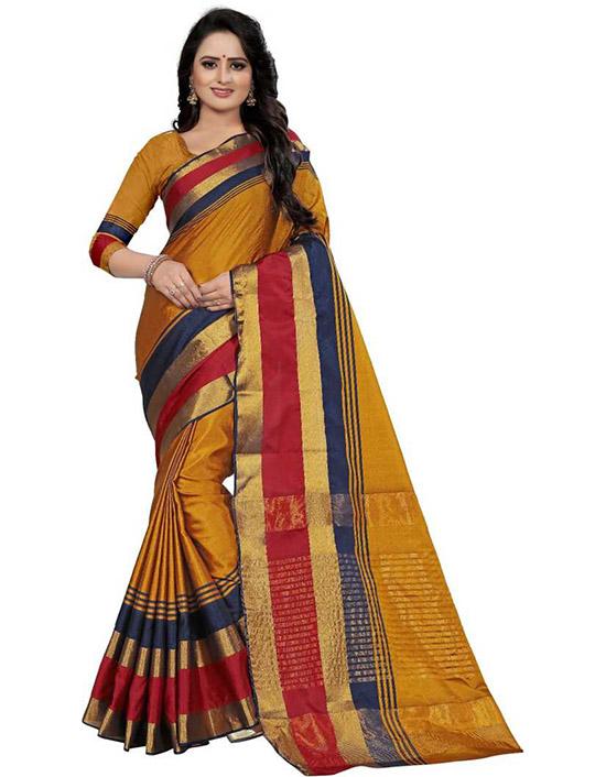 Self Design Fashion Poly Silk Yellow Saree