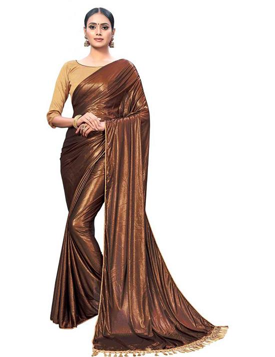 Self Design Fashion Silk Blend Brown Saree