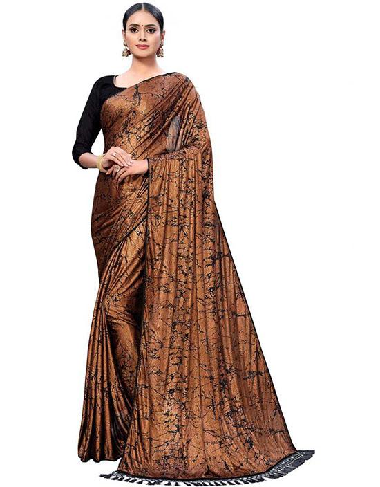 Self Design Fashion Silk Blend Brown Sari