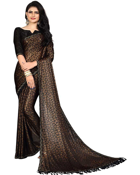 Self Design Fashion Silk Brown Blend Saree