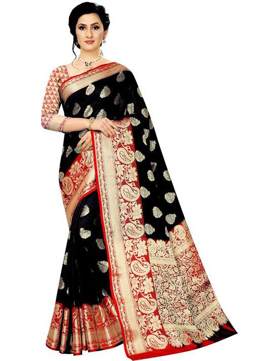 Self Design Kanjivaram Art Silk Black Saree