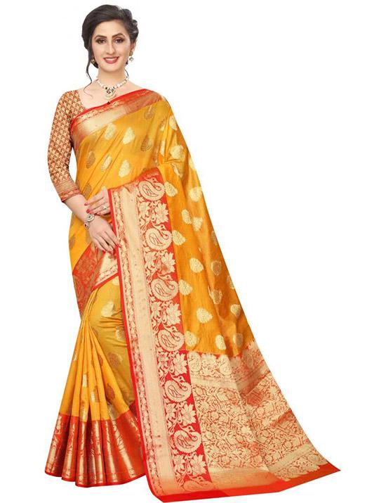 Self Design Kanjivaram Art Silk Yellow Saree