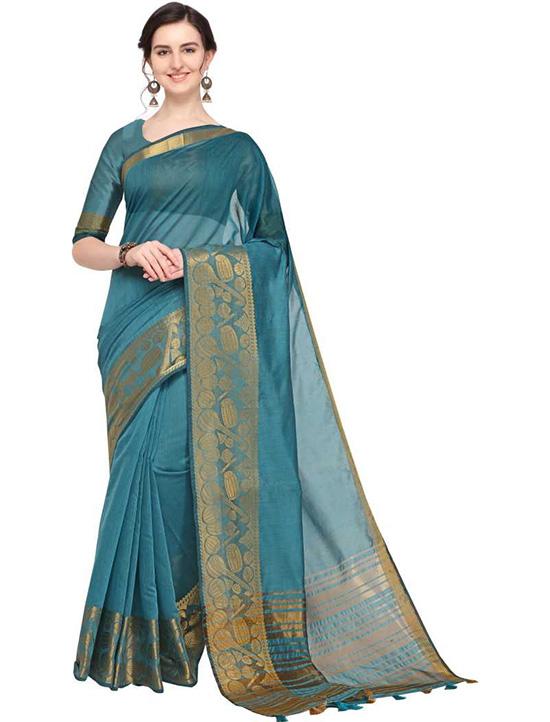 Self Design Kanjivaram Cotton Silk Blue Saree