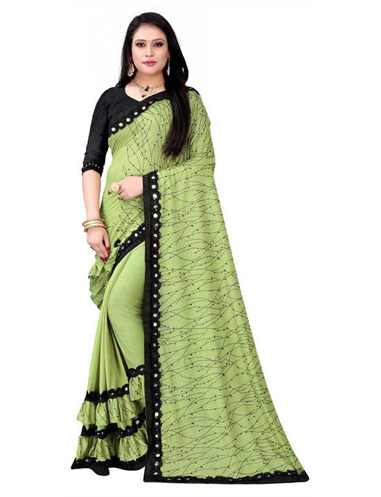 Self Design Kanjivaram Lycra Blend Green Saree