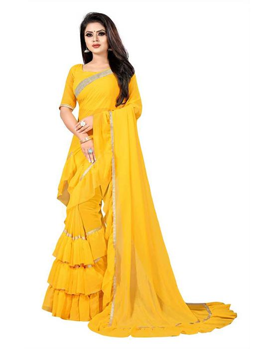 Self Design, Solid Fashion Georgette Yellow Saree