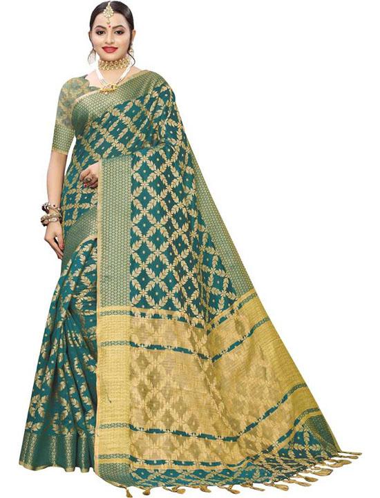 Self Design, Woven, Embellished Kanjivaram Silk Blend, Art Silk Green Saree