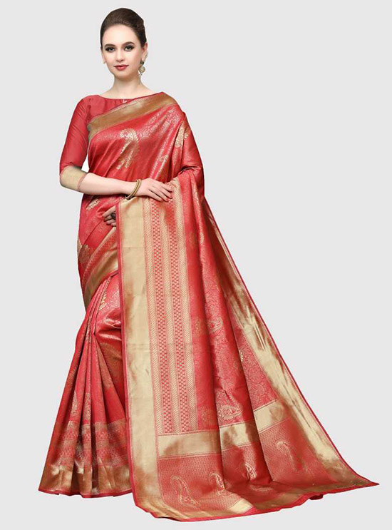 Self Design, Woven, Embellished Kanjivaram Silk Blend, Poly Silk Red Saree