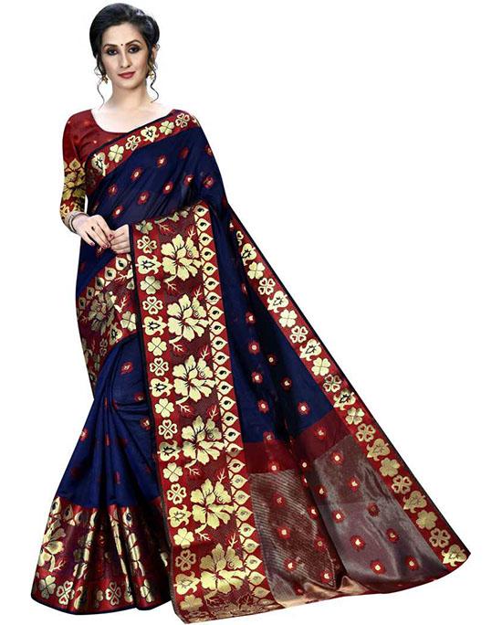 Self Design, Woven, Floral Print Banarasi Silk Blend, Jacquard Blue Saree