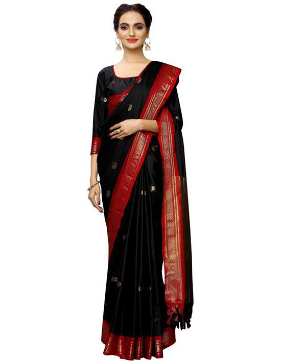 Self Design, Woven Mysore Jacquard, Art Silk Black Saree