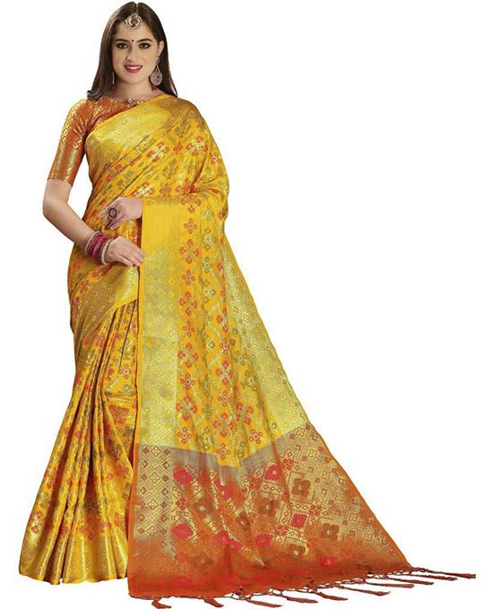 Self Design, Woven Patola Poly Silk Yellow Saree