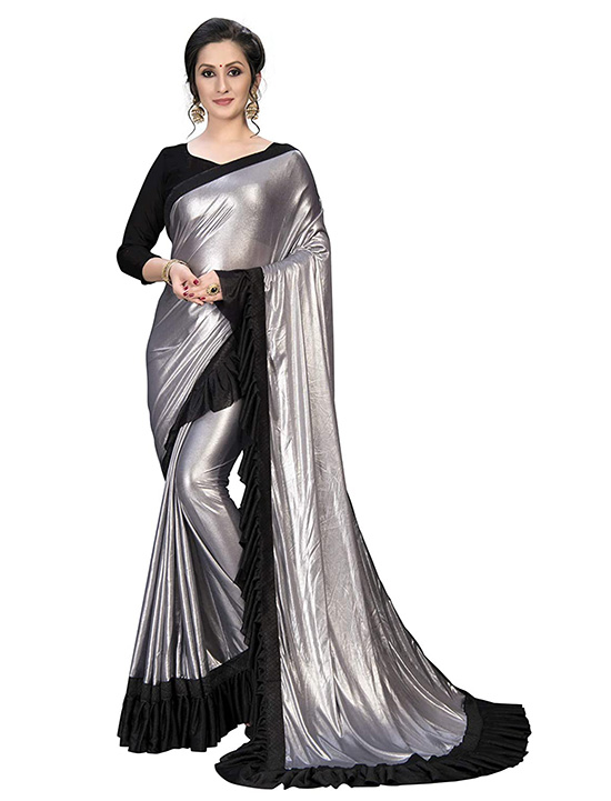 Silk Fancy Frill Ruffle Silver Saree