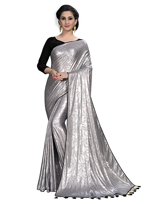 Silk Fancy Silver Saree