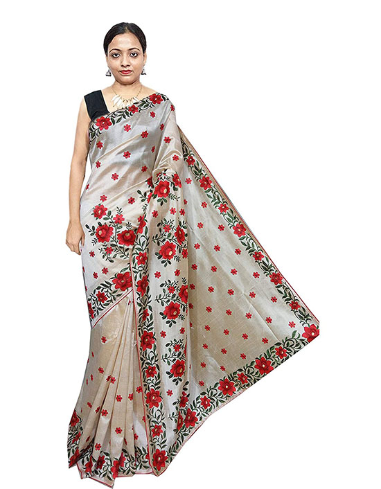 Silk Silver Saree With Blouse Piece