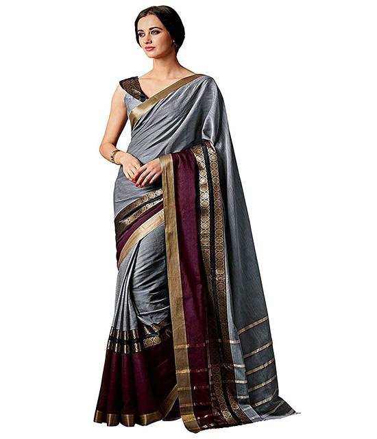 Silver Color Art Silk Printed Saree With Blouse Piece