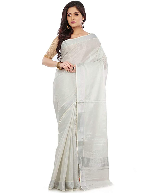 Silver Color Cotton Kerala Kasavu Tissue Saree With Blouse