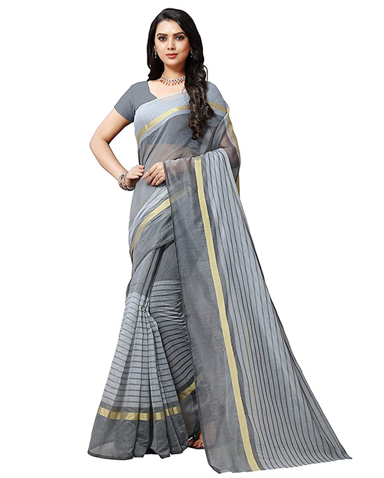 Silver Color Cotton Saree With Unstitched Blouse Piece