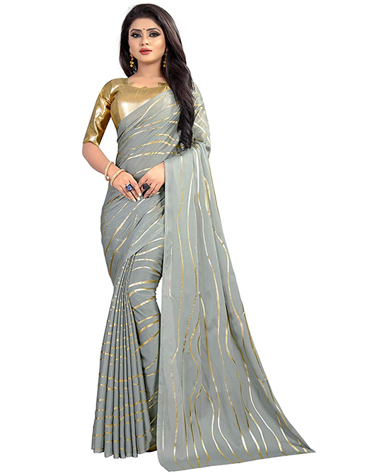 Silver Color Georgette Foil Print Saree With Blouse Piece