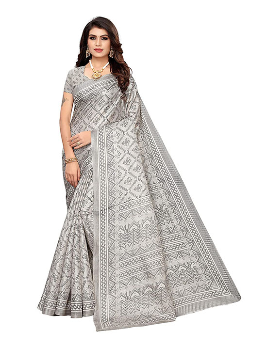 Silver Color Khadi Silk Printed Saree With Blouse