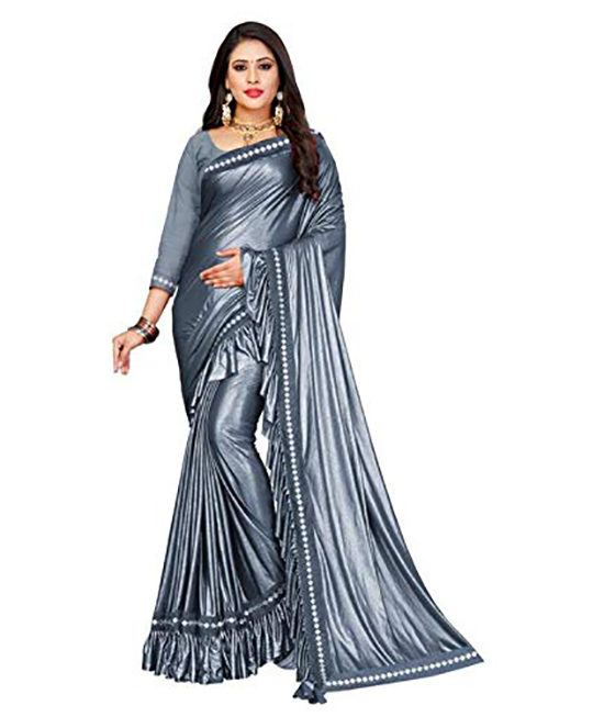 Silver Color Lycra Saree With Blouse Piece