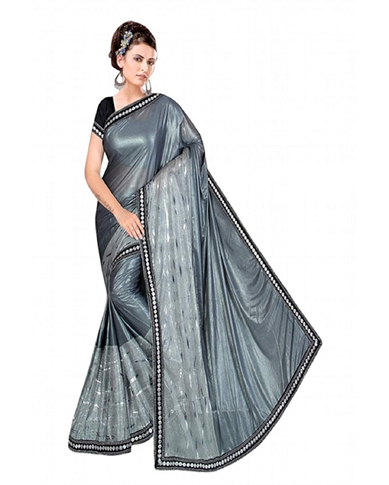Silver Color Polyester Saree with Blouse Piece