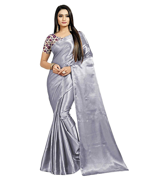 Silver Color Satin Silk Saree With Blouse Piece