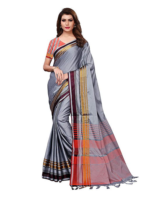 Silver Color Silk Saree with Blouse Piece