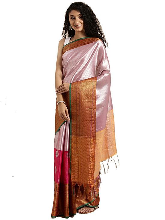 Silver Colour Kora Muslin Silk Saree