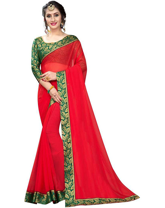 Solid Bollywood Georgette, Chiffon Red Saree