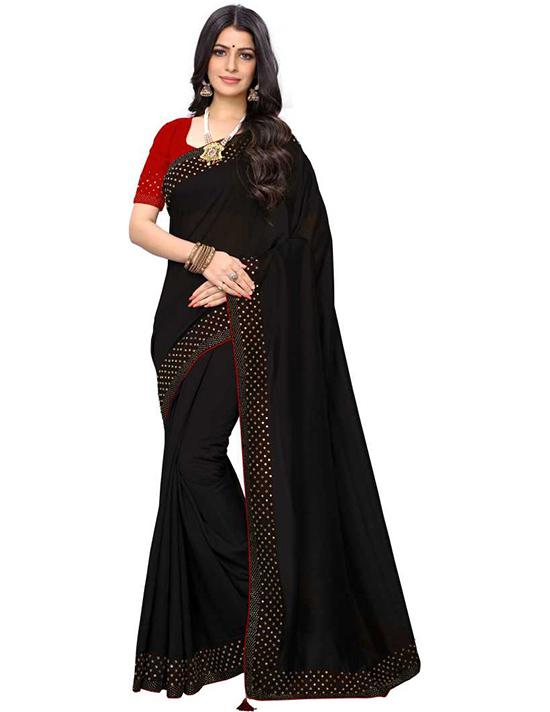 Solid Bollywood Pure Silk Black Saree