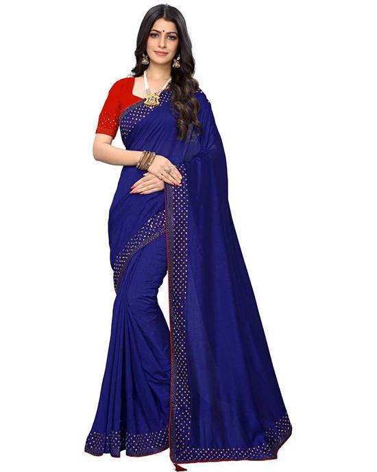 Solid Bollywood Pure Silk Blue Saree